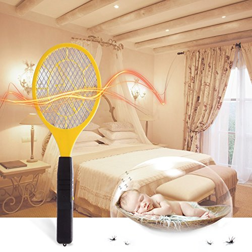 Bug zapper- Electric Fly Swatter ,handheld Insect Fly Killer, Mosquito Zapper against Flies,Bugs,Bees and Other Pest,Unique 3-Layer Safety Mesh Safe to Touch for Indoor and Outdoor Pest Control by Henscoqi (Image #6)'
