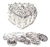 "JOICE Decorative Rhinestone Wedding Arras Heart Shape Box Set 2¼"" X 1½"" X 2'' (Silver)"