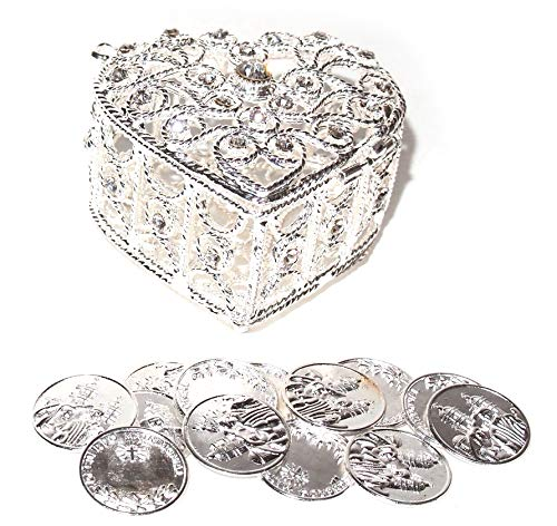"JOICE Decorative Rhinestone Wedding Arras Heart Shape Box Set 2¼"" X 1½"" X 2'' (Silver) by JOICE"
