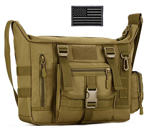 ArcEnCiel Military Tactical Messenger Bag Shoulder Sling Pack Water Resistant Molle Laptop Crossbody Daypack with Patch (Coyote Brown)