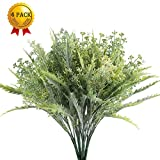 Nahuaa Outdoor Artificial Shrubs 4PCS Fake Greenery Plants Faux Plastic Aglaia Odorata Boston Fern Bushes Bundles Table Centerpieces Arrangements Home Kitchen Office Windowsill Spring Decorations