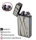 BOLT Lighter® USB Rechargeable Windproof Electric Plasma Dual Arc Lighter Set with USB Charging Cable and Carrying Pouch (Curvy Lines)