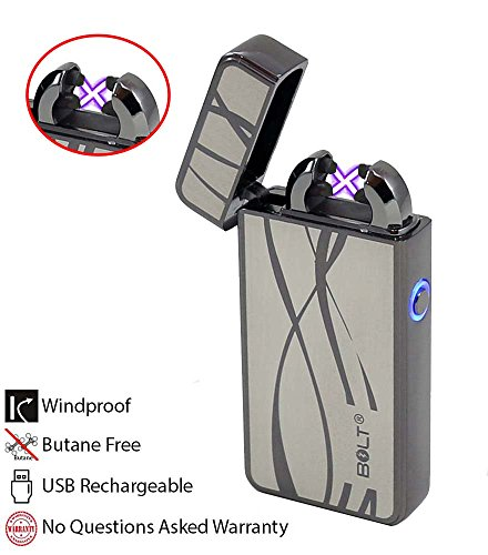 BOLT Lighter® USB Rechargeable Windproof Electric Plasma Dual Arc Lighter Set with USB Charging Cable and Carrying Pouch (Curvy Lines) (Hookah Cigarette Rechargeable)