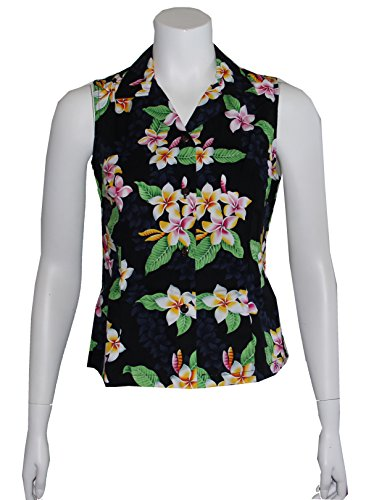 Alohawears Clothing Company Made In Hawaii ! Womens Plumeria Flowers Hawaiian Aloha Sleeveless Shirt