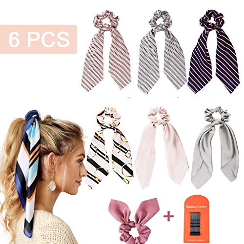 Scarf Hair Scrunchies 6Pcs Silk Satin Scarf Hair Ties Elastic Hair Bands 1Pcs Ribbon Bow Scrunchies with Solid Colors Ponytail Holder Hair Bobbles Vintage Accessories Ropes for Women Girls