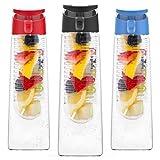 Vremi 24 Oz Fruit Infuser Water Bottle - BPA Free Tritan Reusable Plastic Water Bottle with Fruit Infusion Insert Basket and Flip Top Leak Proof Lid for Flavor Infused Beverage Sports Drinks - Black