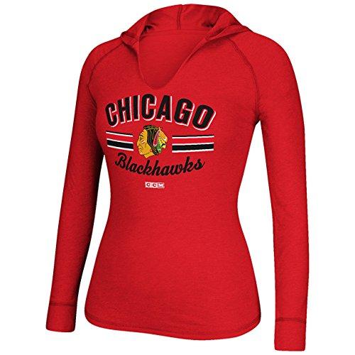Chicago Blackhawks CCM Women's Red Heathered Vintage L/S Hooded Tee (Womens - Tees Reebok Vintage