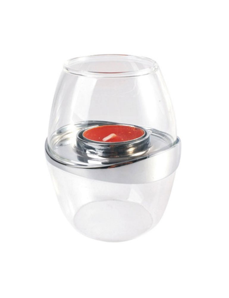 Cozyle Stainless Steel Elegant Glass Tealight Candle Holder White