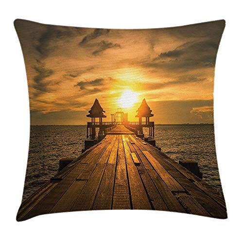 KKONEDS Beach Throw Pillow Cushion Cover, Wooden Dock Serene Bangkok Bay Morning Sunshine and Ocean Picture Print, Decorative Square Accent Pillow Case,Brown Yellow Dark Blue 20x20inch ()