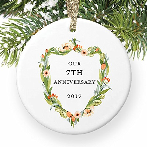 7th Anniversary Gifts, Seventh Christmas Ornament 2017, 7 Years Together Couple Husband & Wife Wedding Anniversaries Ceramic Present Keepsake 3