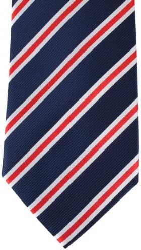 Navy/Red/White Regimental Striped Tie by David Van Hagen