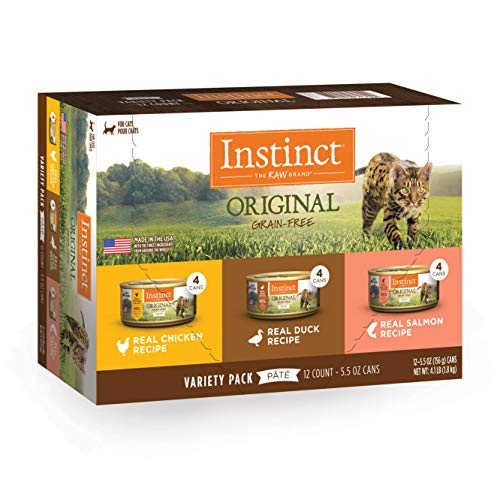 Instinct Original Grain Free Recipe Variety Pack Natural Wet Canned Cat Food by Nature's Variety, 5.5 oz. Cans (Pack of 12)