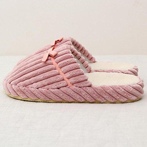 Baymate Unisex Gestreift Anti-Rutsch Haus Hausschuhe Slip-on Winter Pantoffeln Slippers Slippers Pink