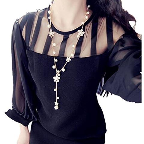 """Pendant Necklaces JUNKE Women's 28"""" Pearl Flower Sweater Chain Long - Large Opal Globe Pendant"""
