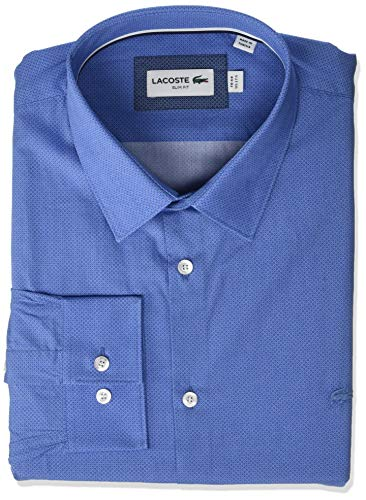 (Lacoste Men's L/S Printed POPLIN French Colar Slim FIT City Woven Shirt, TURQUIN Blue, 18½)
