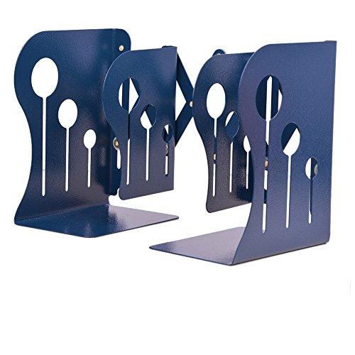 SatisInside Medium Size 3 Grids Modern Reinforced Metal Adjustable Bookends Book Racks, Non-skid, Max Length 19 - Navy Blue