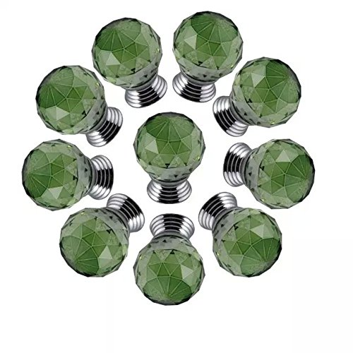 CSKB GREEN 10 PCS 40mm Good-quality Crystal Glass Diamond Cut Door Knob Kitchen Cabinet Drawer Knobs+Screw Home Decoration 8 Colors Available