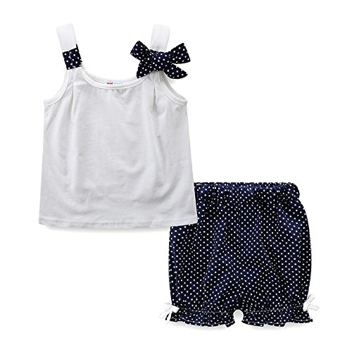 Mud Kingdom Little Girls Clothes Sets Summer White Tank Top and Dot Shorts