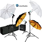 LimoStudio Umbrella Reflector Video Studio Continuous Lighting Kit, White and Gold Umbrella, Photo Bulb and Socket with Umbrella Insert Hole, Light Stand Tripod, Carry Bag, Photograph Studio, AGG2105