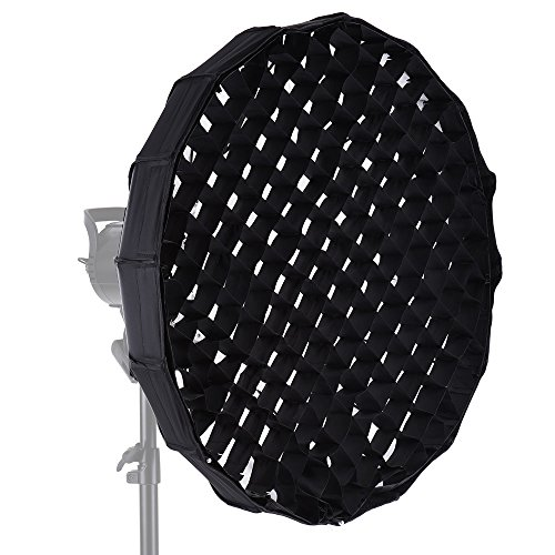Andoer 16-Pole 60cm Folding Collapsible Beauty Dish Softbox with Honeycomb Grid Bowens Mount for Studio Strobe Flash Light by Andoer
