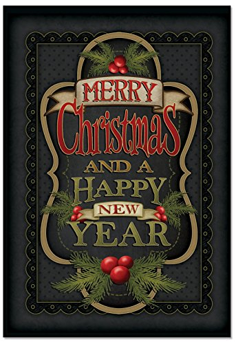 B3297GXSG Box Set of 12 Chalk Up Another Holiday Christmas Notecard Featuring a Chalkboard-Looking Seasonal Message; with Envelopes (Cost Of Postage To Canada From Us)
