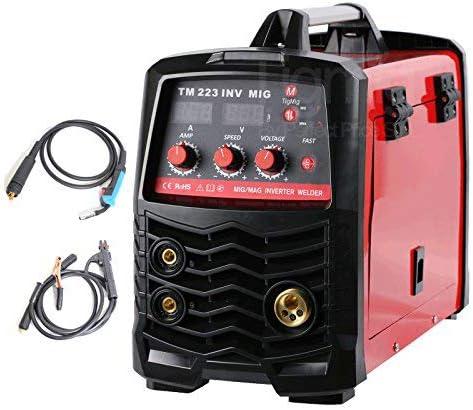 TIGMIG Soldador Inverter IGBT de Hilo Continuo MIG MAG MMA 180 AMP Maquina de Soldar (200 Amp, IGBT, Pantalla LED, incl. accesorios)