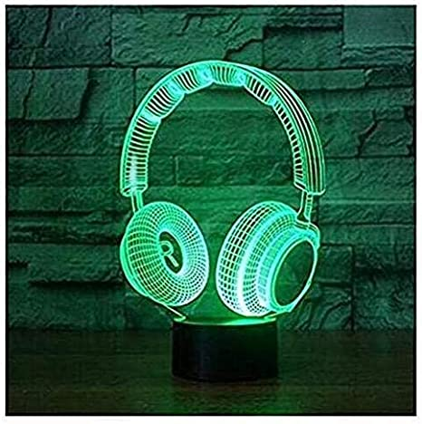 Earphone shaped 3D Night Light Touch 7 Colors LED Desk Table Lamps for Kids Gift