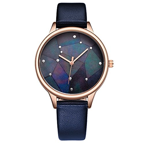 Women Ladies Starry Sky Watches Luxury Fashion Leather Strap Dress Waterproof Analogue Quartz Watch (Blue) by LAIMAI