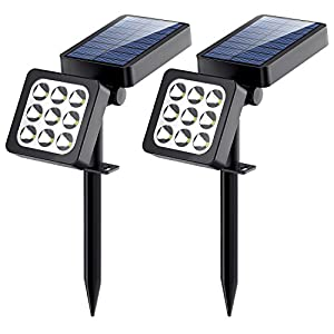 Solar Spotlights 2-in-1 Waterproof Outdoor Landscape Lighting 9 LED Adjustable Spotlight Wall Light Auto On/Off  Security Night Lights for Patio Yard Garden Driveway Pathway Pool, 2 Pack