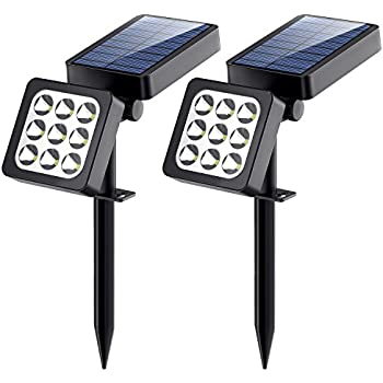 Solar Spotlights 2-in-1 Waterproof Outdoor Landscape Lighting 9 LED Adjustable Spotlight Wall Light Auto On/Off Security Night Lights for PatioYard Garden Driveway Pathway Pool (Pack of 2)