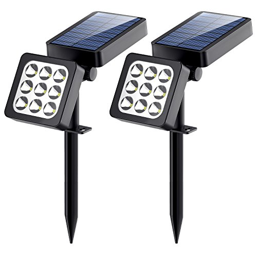 Solar Lights, 2-in-1 Waterproof Outdoor Solar Spotlight Adjustable Wall Light Landscape Light Security Lighting Dark Sensing Auto On/Off for Patio Deck Yard Garden Driveway Pathway Pool Area (2 Pack)