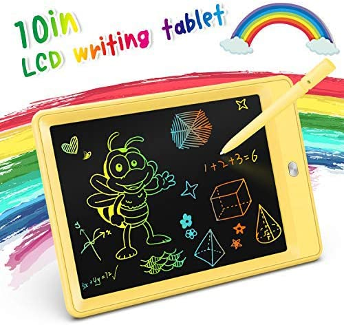 KOKODI LCD Writing Tablet, 10 Inch Colorful Toddler Doodle Board Drawing Tablet, Erasable Reusable Electronic Drawing Pads