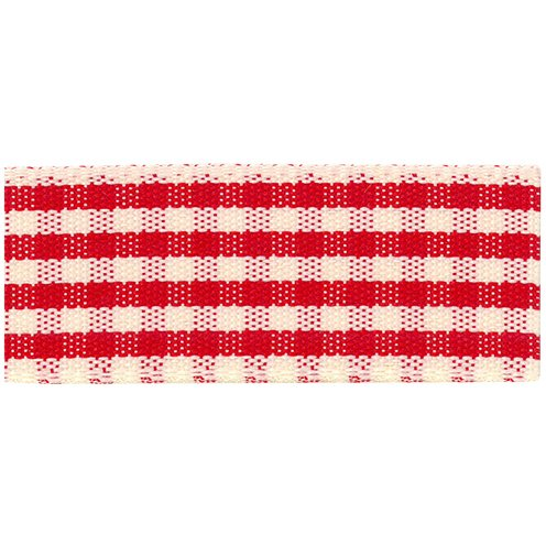 Red (15) Rustic Gingham Polyester Ribbon 25mm x 20m   Pink   Birch 8012800002