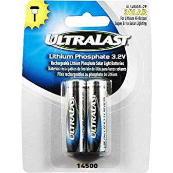 Outdoor Solar Light Batteries Amazon ultralast lithium phosphate rechargeable batteries for ultralast lithium phosphate rechargeable batteries for 32 volt outdoor solar lighting 600mah workwithnaturefo