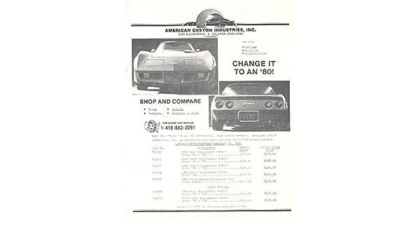 Amazon.com: 1973 1980 Chev Corvette American Turbo Kit Car Brochure: Entertainment Collectibles