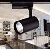 GRANDEY Cob Led Track Light 12W 20W 30W Aluminum Ceiling Rail Track Lighting Spot Rail Spotlights Replace Halogen Lamps AC85-265V (Black, Natural White 30W)
