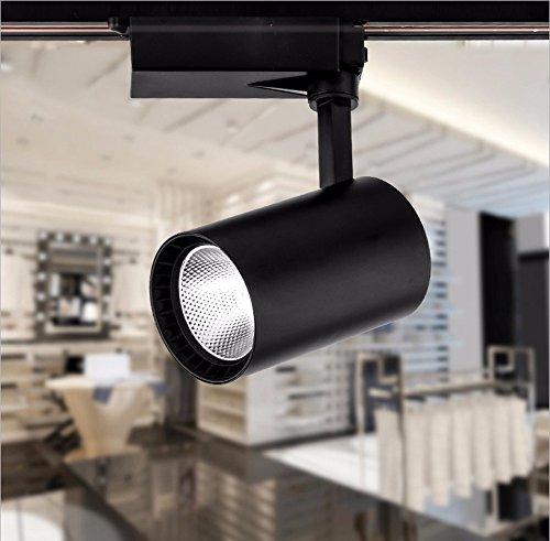 (GRANDEY Cob Led Track Light 12W 20W 30W Aluminum Ceiling Rail Track Lighting Spot Rail Spotlights Replace Halogen Lamps AC85-265V (Black, Natural White 20W))
