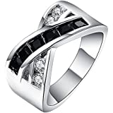 18kt white Gold Filled black Sapphire CZ Wedding Engagement PARTY Ring Size 7-10 LOVE STORY (9)