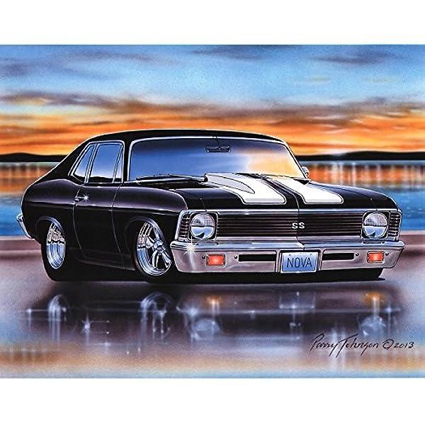 Amazon Com 1970 71 72 Chevy Nova Ss Muscle Car Art Print Black 11x14 Poster Posters Prints