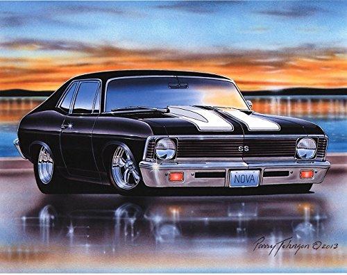 1970 71 72 Chevy Nova SS Muscle Car Art Print Black 11x14 Poster