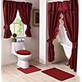 Madison MAD-SWG-WC-RU Starlite Deluxe Swag Shower Bathroom Window Curtain, Ruby