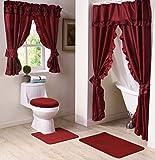 Bathroom Shower Window Curtains Madison MAD-SWG-WC-RU Starlite Deluxe Swag Shower Bathroom Window Curtain, Ruby