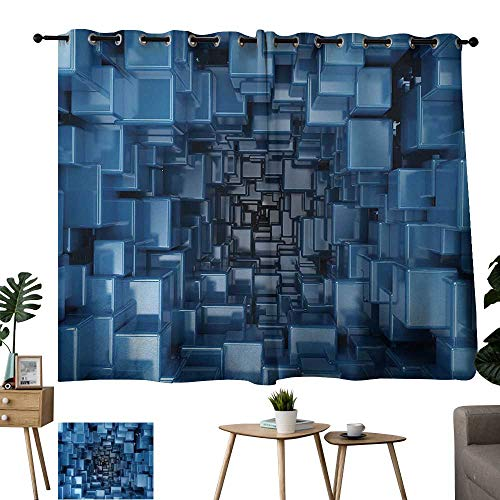 WinfreyDecor Abstract Light Luxury high-end Curtains Digital Stylized Dimensional Square Shaped Cubes Glossy Geometric Style Cluster Print Suitable for Bedroom Living Room Study, etc.63 Wx45 L Blue