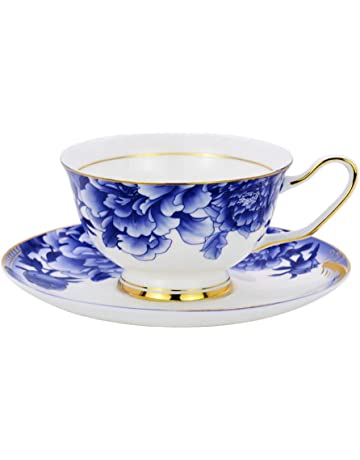 96d4be674a9 ACOOME Tea Cup with Saucer Sets Blue and white 6.8oz Vintage Bone China  Peony Flower