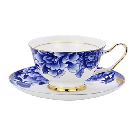 a24f084c014 Amazon.com   ACOOME Tea Cup with Saucer Sets Blue and white 6.8oz Vintage  Bone China Peony Flower Tea Cup: Cup & Saucer Sets