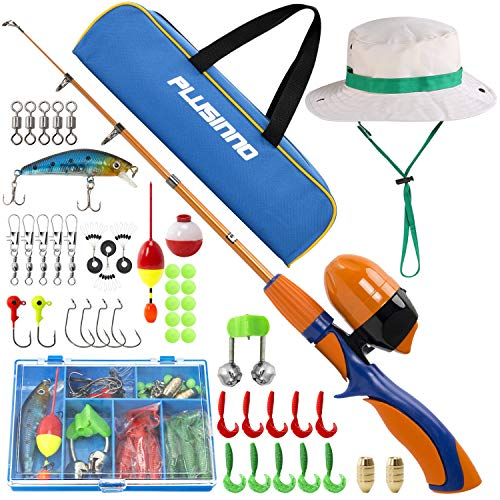 PLUSINNO Kids Fishing Pole,Portable Telescopic Fishing Rod and Reel Full Kits, Spincast Youth Fishing Pole Fishing Gear for Kids, Boys (Orange Handle with Bag&Hat, 120CM 47.24IN) (Little Boy Fishing Hat)