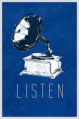 Listen Victrola Record Player Blue Poster 12x18 inch