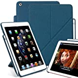 KHOMO iPad 9.7 Inch (2017 & 2018) Case with Pen Holder - DUAL ORIGAMI Series - Horizontal and Vertical Display
