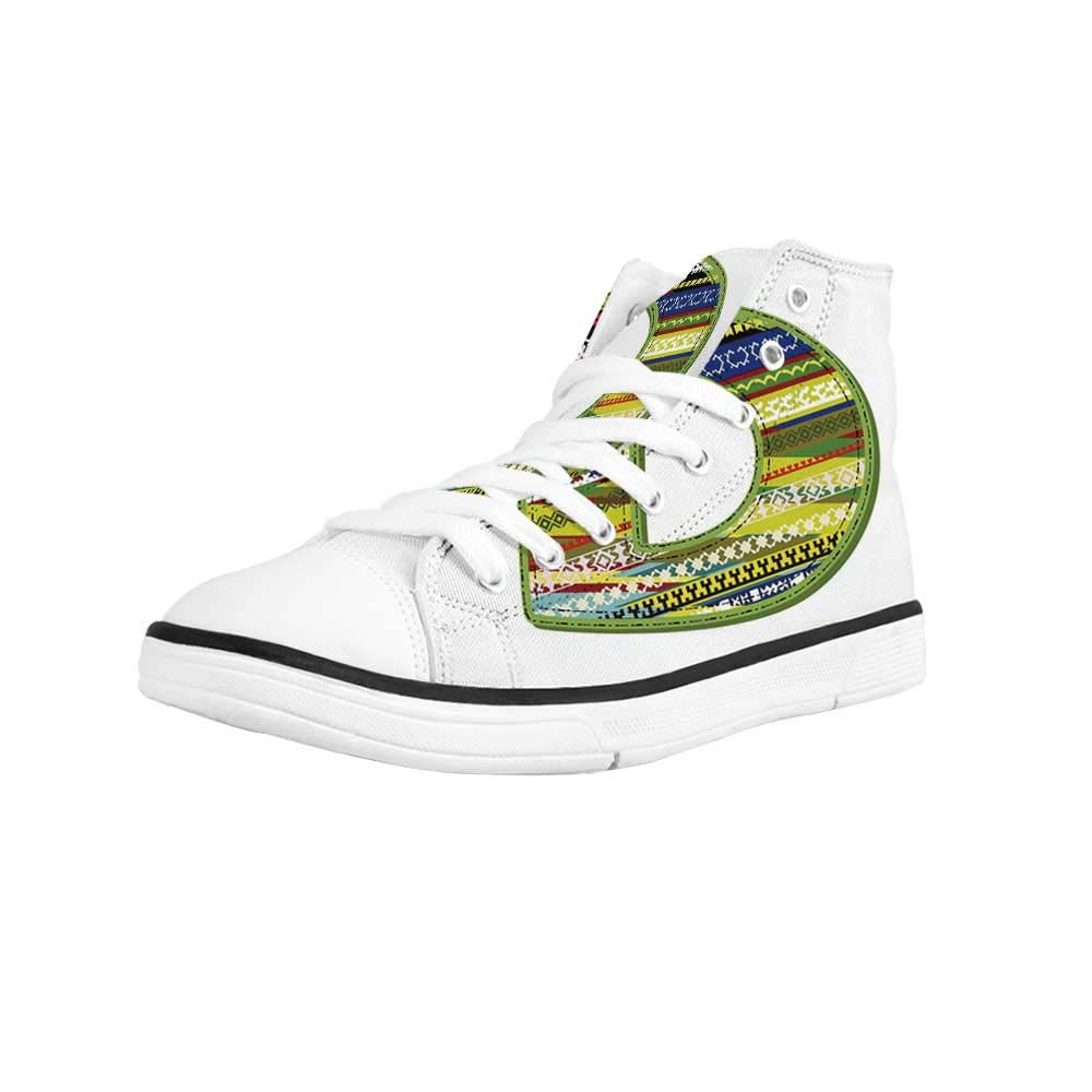 Letter D Comfortable High Top Canvas Shoes,Capital D Letter with Ripe Strawberry Design Green Vivid Leaves Diet Decorative for Women Girls,US 5