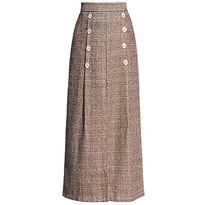 Little Walnut Women Oversize Plaid Woolen Winter High Waist Long Skirts